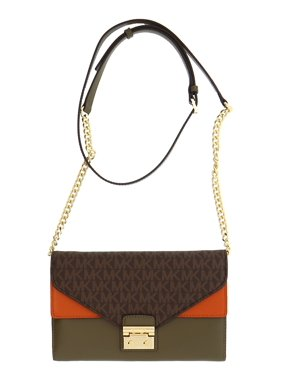 811189df2d99 Product Image Sloan Large Leather - Wallet-on-chain - Brown/Olive/Orange -. Michael  Kors