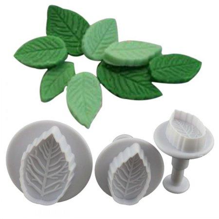 3 Pcs Cake Rose Leaf Fondant Decorating Cake Sugar Mold Cutter (Wooden Sugar Molds)