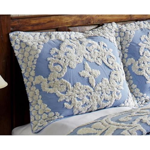Florence Soft Cotton Chenille Bedspread by Better Trends Sham Blue