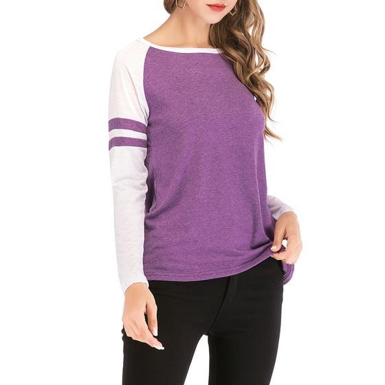 32bff77c SAYFUT - Womens Plus Size Striped Shirt Round Neck Long Sleeve ...