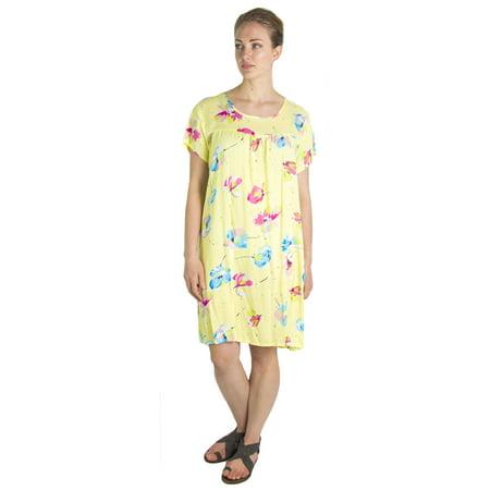 85eb54a9c3 Sakkas Aila Women Summer Casual Short Sleeve Flowy Cover up Dress Floral  Print - Yellow -