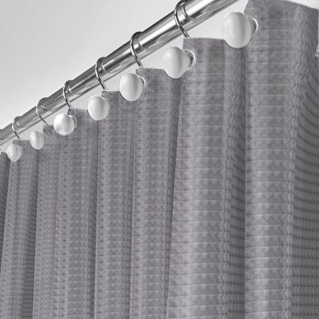 Waffle Fabric Shower Curtain Gray - Includes PEVA Plastic Shower Curtain Liner Mildew Resistant, Soft Touch Waterproof Polyester Decorative Bathroom Curtain 72x72 inch