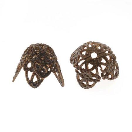 Vintaj Natural Brass Filigree 10x12mm Cone Bead Caps (2) ()