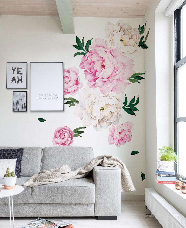 Peony Flowers Wall Sticker Vivid Pink Walmartcom