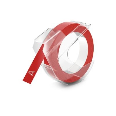 DYMO Embossing Labels, 3/8-Inch x 9.8-Foot Roll, White Print on Red, Self-Adhesive