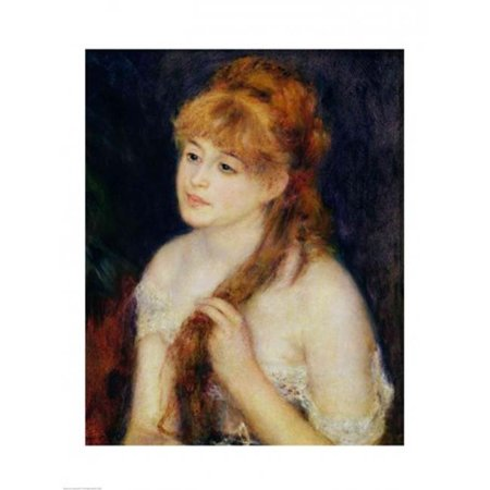 Young Woman Braiding Her Hair 1876 Poster Print by Pierre-Auguste Renoir - 18 x 24 in. - image 1 of 1