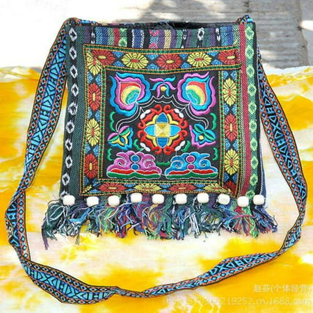 EFINNY Multi-Color Thai Embroidered Hill Tribe Totes Messenger Bag Boho Hippie Hoboed Trousers