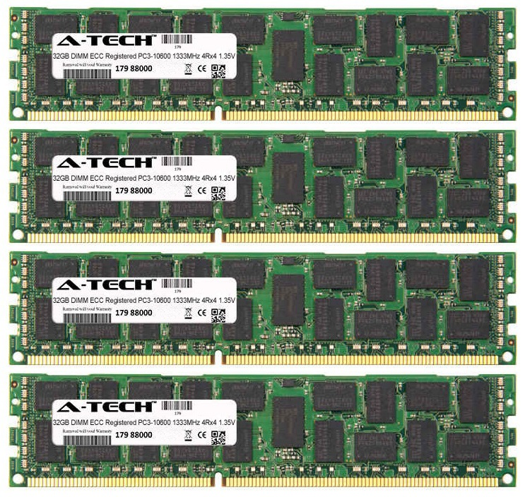 128GB Kit 4x 32GB Modules PC3-10600 1333MHz 1.35V 4Rx4 ECC Registered DDR3 DIMM Server 240-pin Memory Ram