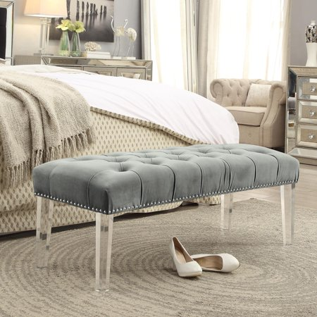 Brilliant Eugene Grey Velvet Upholstered Bench Acrylic Legs Tufted Nailhead By Inspired Home Creativecarmelina Interior Chair Design Creativecarmelinacom