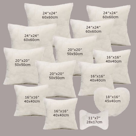 White Cotton Throw Hold Pillow Inner Pads Inserts Home Bed Sofa Car Cushion ()