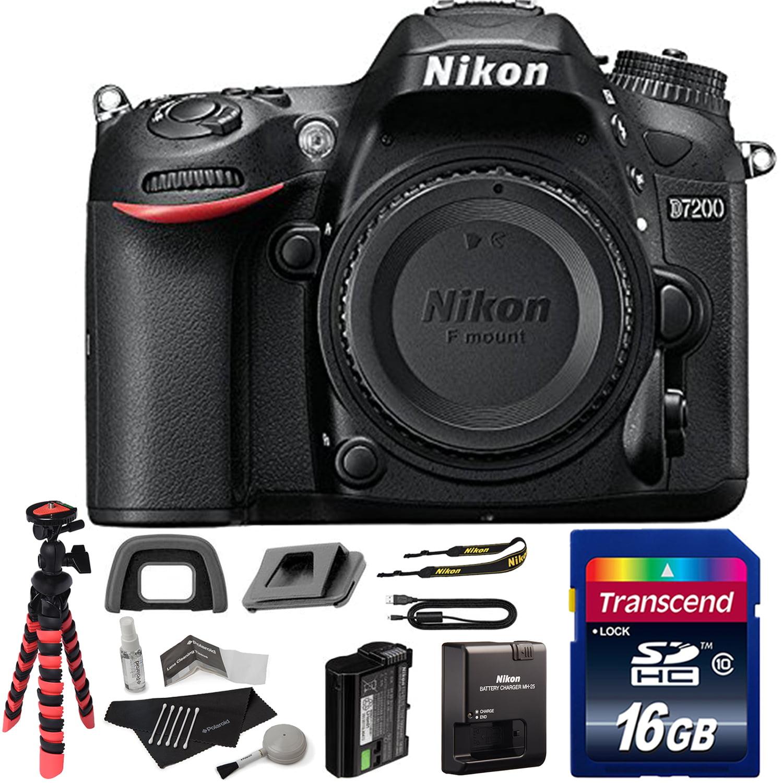 Nikon D7200 DX-format DSLR Body (Black), Transcend 16 GB ...