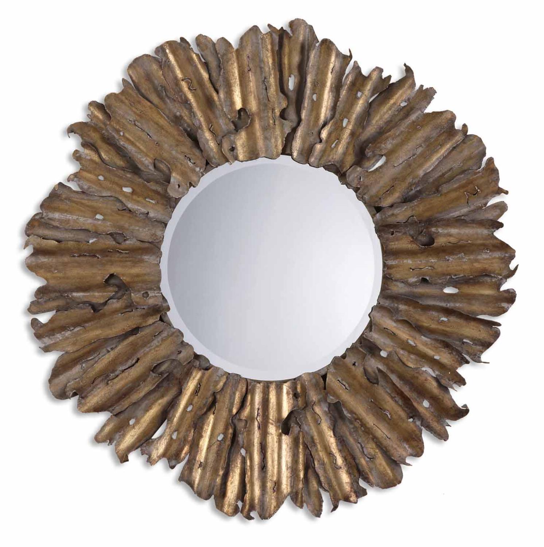 "43"" Antique Gold Leaf & Gray Starburst Metal Framed Beveled Round Wall Mirror"