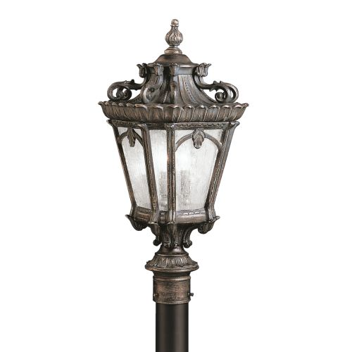 "Kichler 9559 Tournai 30""Tall 4 Light Outdoor Post Light with Seedy Glass Panels"