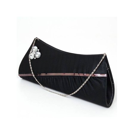 - Womens Evening Bag Clutch Handbag Beaded Rhinestone Purse Wallet Formal Party NW Black One Size