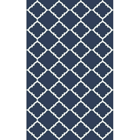 2' x 3' Diamante Cortante Navy Blue and Ivory Reversible Wool Area Throw Rug ()