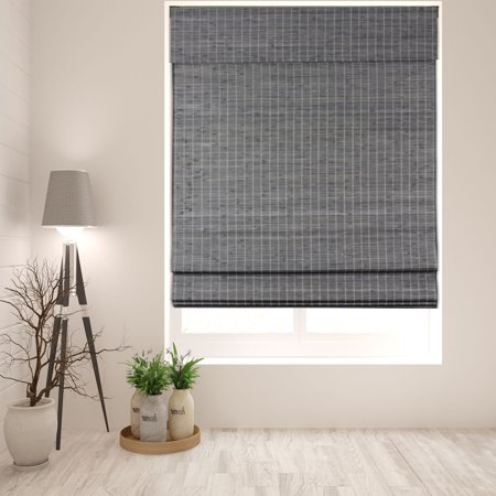Arlo Blinds Cordless Semi-Privacy Grey-Brown Bamboo Roman Shade - Size: 18