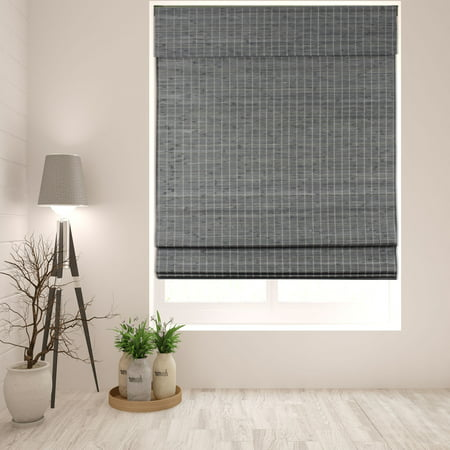 "Arlo Blinds Cordless Semi-Privacy Grey-Brown Bamboo Roman Shade - Size: 18""W x 60""H, Innovative Cordless Lift System ensures safety and ease of use"