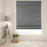 "Arlo Blinds Cordless Semi-Privacy Grey-Brown Bamboo Roman Shade - Size: 18""W x 60""H"