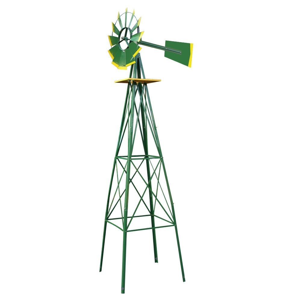 New 8FT Green Metal Windmill Yard Garden Decoration Weather Rust Resistant by MTN Gearsmith