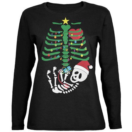 Christmas Tree Baby Skeleton Robot Black Womens Long Sleeve T-Shirt