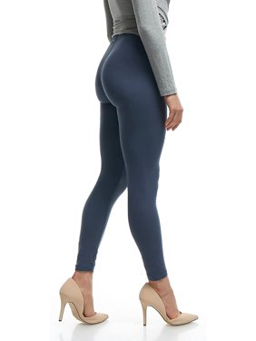 LMB Lush Moda Women's Leggings Basic Polyester - Extra Buttery Soft with Slimming Fit for Casual Wear, Lounging, Yoga, Exercise and Layering - Many Colors - Navy (XS - XL)