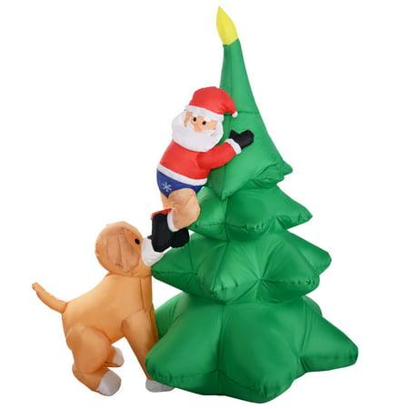 gymax 6ft waterproof santa claus inflatable christmas tree indoor outdoor decor - Indoor Christmas Decorations Walmart