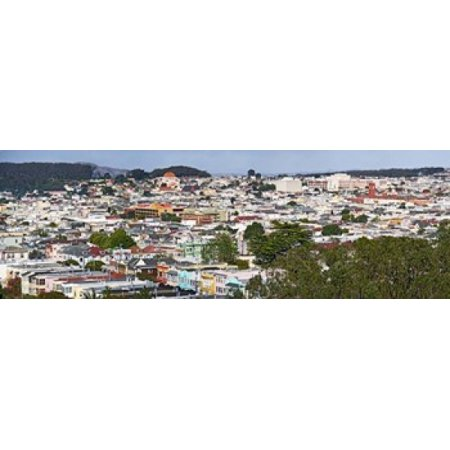 High angle view of colorful houses in a city Richmond District Laurel Heights San Francisco California USA Canvas Art - Panoramic Images (18 x 6)