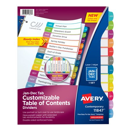 Avery Customizable Table of Contents Dividers, Ready Index Printable Section Titles, 12 Preprinted Jan-Dec Arched Multicolor Tabs, 1 Set (11847)