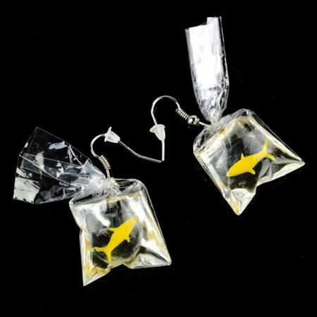Fancyleo Funny Goldfish Water Bag Shape Dangle Hook Earrings Female Women Girls Jewelry Gift ()