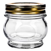 Global Amici Orto Canning Glass Jar with Lid - 5.5 oz. - Set of 6