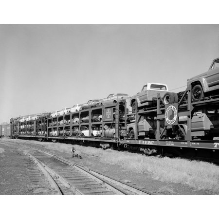 1960s Railroad Freight Train Carrying Automobiles And Pickup Trucks Poster Print By Vintage Collection