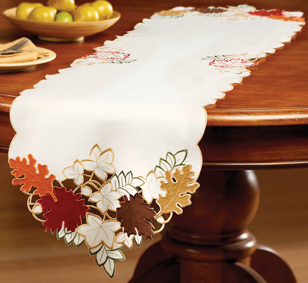 Maple Leaf Embroidered Fall Table Linens, Runner by Collections Etc