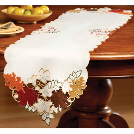 Collections Etc. Fall Table Linens with Colorful, Embroidered Edges and Maple Leaf Cutouts in Fall Hues, Runner