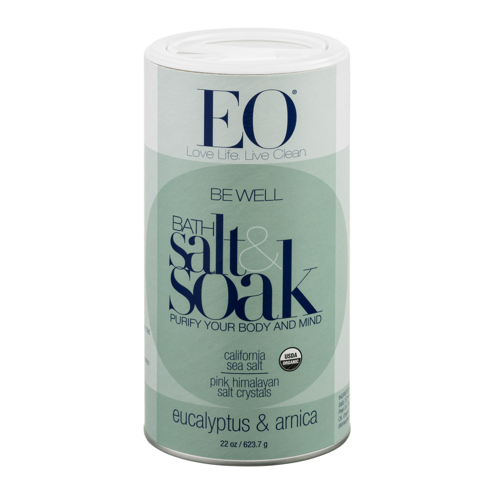 EO Be Well Bath Salt & Soak Eucalyptus & Arnica, 22.0 OZ