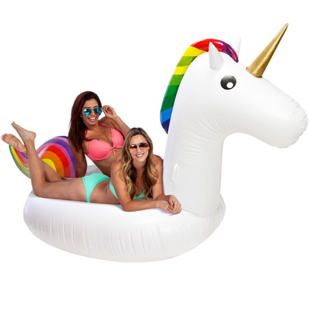 U.S. Pool Supply Giant 9 Foot Inflatable Rainbow Unicorn Pool Float - Summer Raft Ride Pool Fun Party Horse Toy Lounge