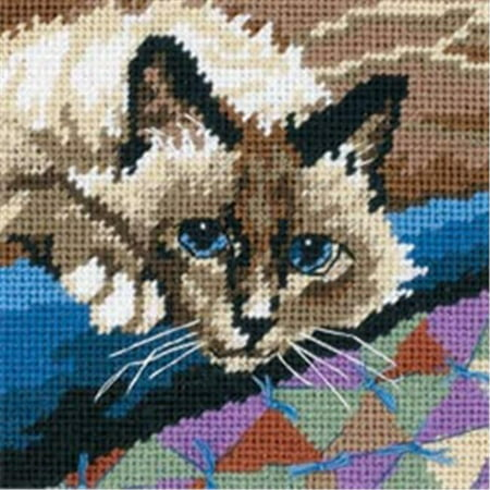 Cat Needlepoint - 390827 Cuddly Cat Mini Needlepoint Kit-5 in. x 5 in. Stitched In Floss