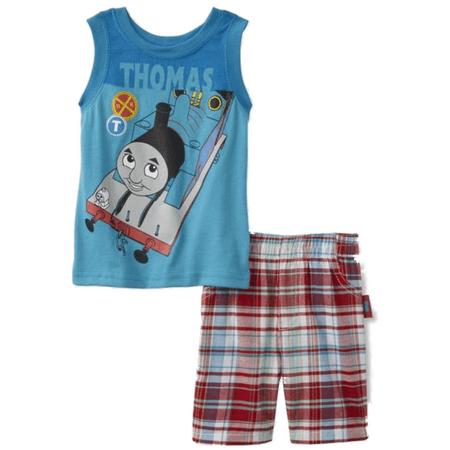 Thomas & Friends Infant & Toddler Boy Blue Thomas the Train Outfit Plaid Shorts - Soul Train Outfit