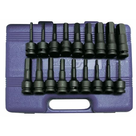 "Westward 1/2"" Drive, Impact Bit Socket Set, Hex Bit, 4PRH3"