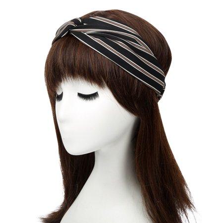 Coxeer Women s Stripe Pattern Cross Elastic Wide Headbands Hair Holder  Accessories Boho Fascinator for Women Girls Washing Face Bath Shower Yoga  Sports ... a378de11b6d