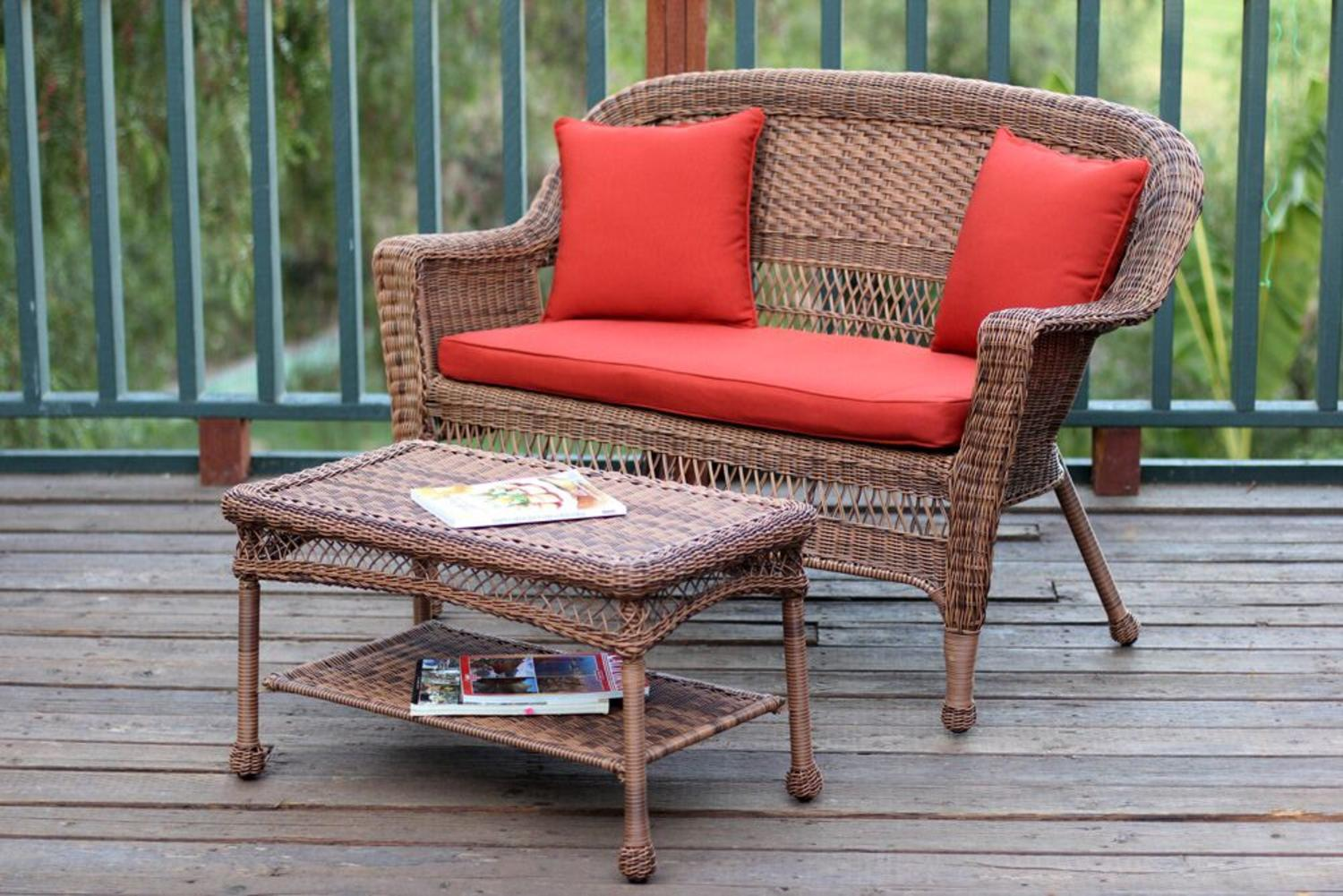 2-Piece Oswald Honey Resin Wicker Patio Loveseat and Coffee Table Set Red Cushion by CC Outdoor Living