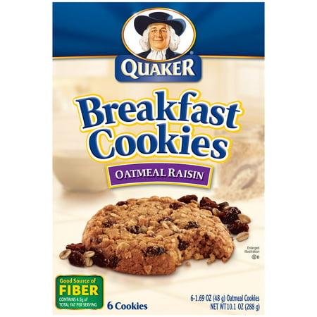 Quaker Breakfast Cookies, Oatmeal Raisin Cookies, 10.1 OZ (Pack of 6 ...