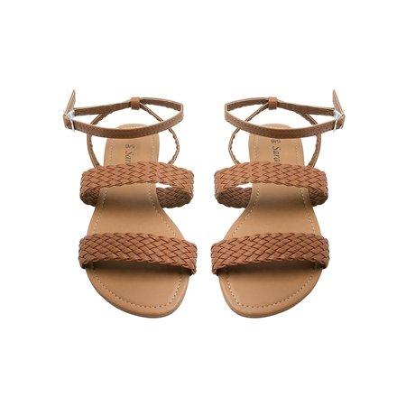 Sara Z Womens Ankle Strap Double Woven Band Flat Sandal Size 9/10 Cognac (Womens Double Strap)