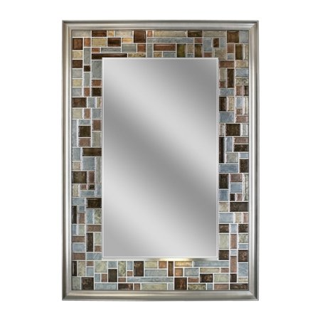 Headwest Inc Headwest Windsor Tile Rectangle Wall Mirror - Brushed Nickel - 24 X 36 ()