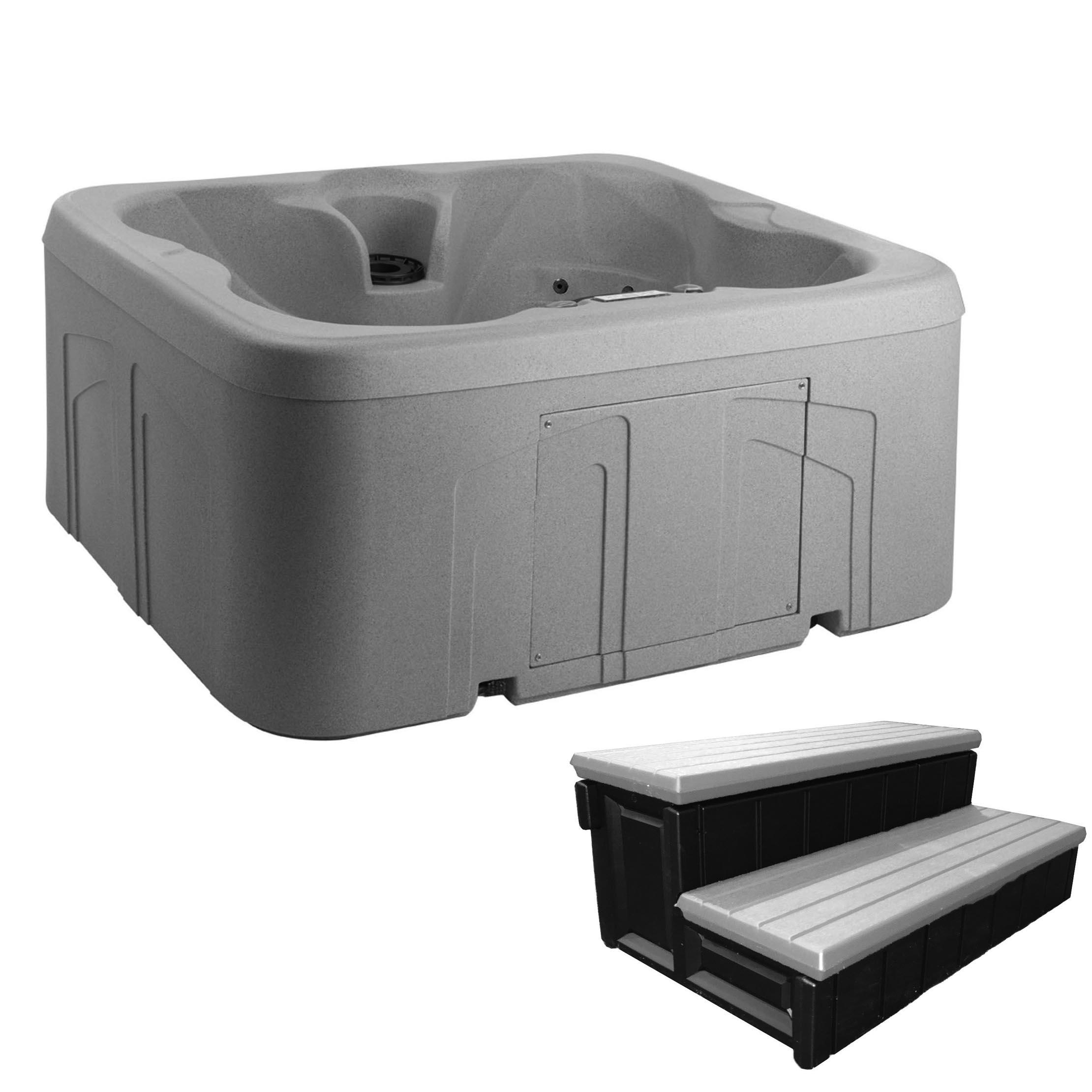 LifeSmart Getaway 4-Person Hot Tub Spa with Matching Spa Step by Lifesmart