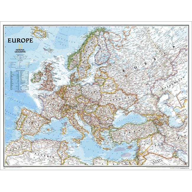 National Geographic RE00620412 Paper Map Of Europe Classic - Enlarged And Laminated