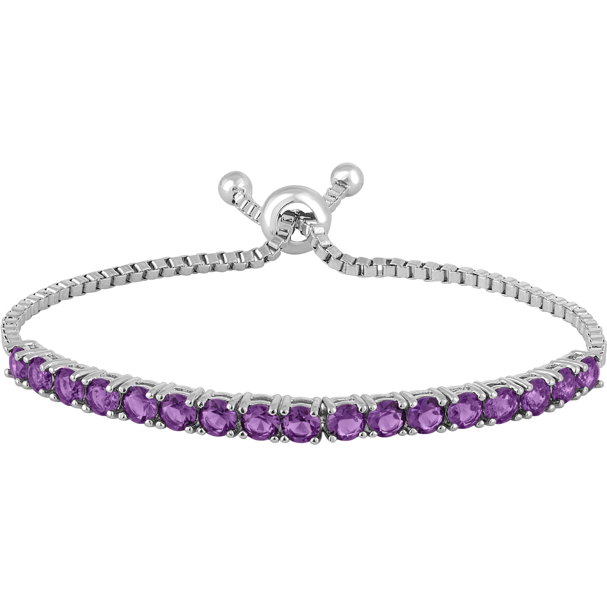 Gemspirations Sterling Silver Plated Simulated Amethyst with CZ Accents Adjustable Bolo Bracelet