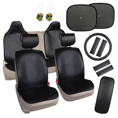 Leader Accessories Faux Leather Quick Install 17pcs Auto Car Seat Cover Cushion Black Non-slip Backing - Steering Wheel Cover + Shoulder Pads + Window Sunshade Cover