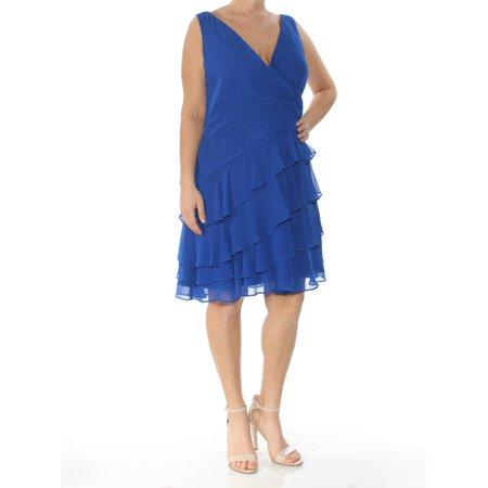RALPH LAUREN Womens Blue Tiered Ruffled Sleeveless V Neck Above The Knee Party Dress  Size: 14](Ralph Lauren Halloween Party)