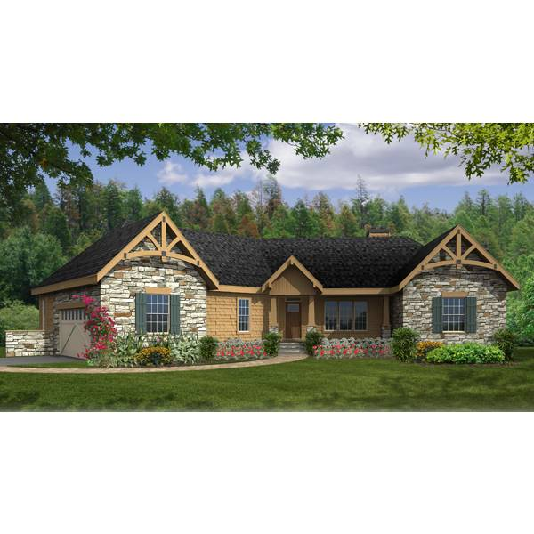 TheHouseDesigners-4421 Modest Craftsman House Plan with Slab Foundation (5 Printed Sets)