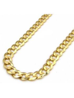 14K Solid Gold 3.5mm Hollow Cuban Curb Chain, Lobster Clasp (7 Inches)